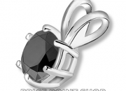 2.50 ctw certified 14k solid white gold 6 prong basket aa black diamond pendant