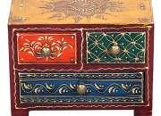 Astonishing  wooden hand painted three drawer box