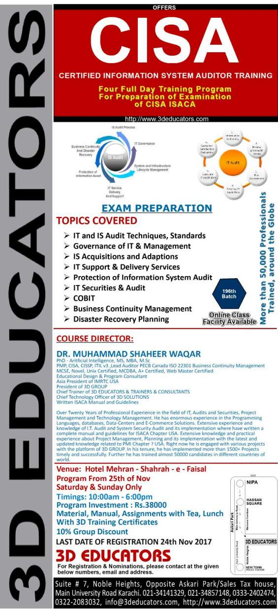"3d educators ""certified information system auditor training"""