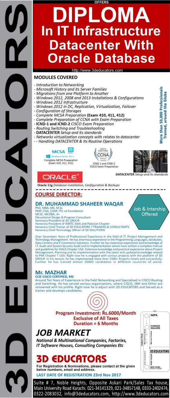 """3d educators """"diploma in it infrastructure"""""""