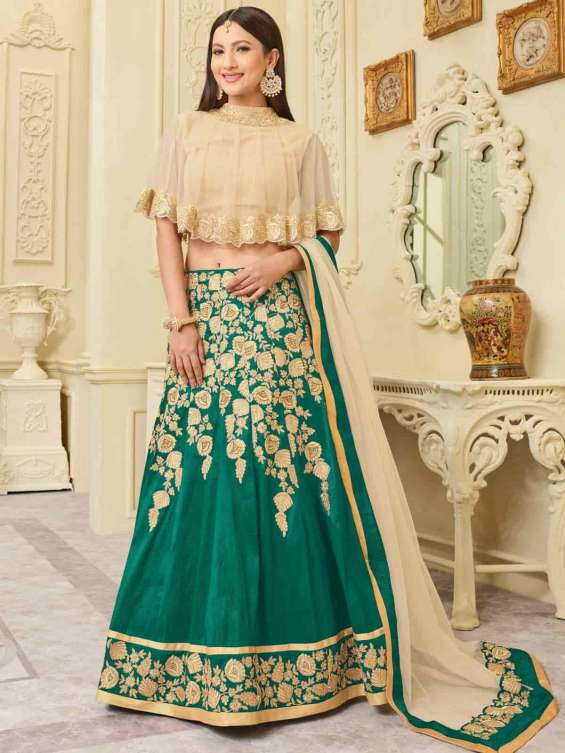 Charming cream and turquoise net party wear designer lehenga choli